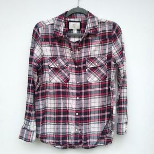 Forever 21 • pearl snap flannel plaid shirt